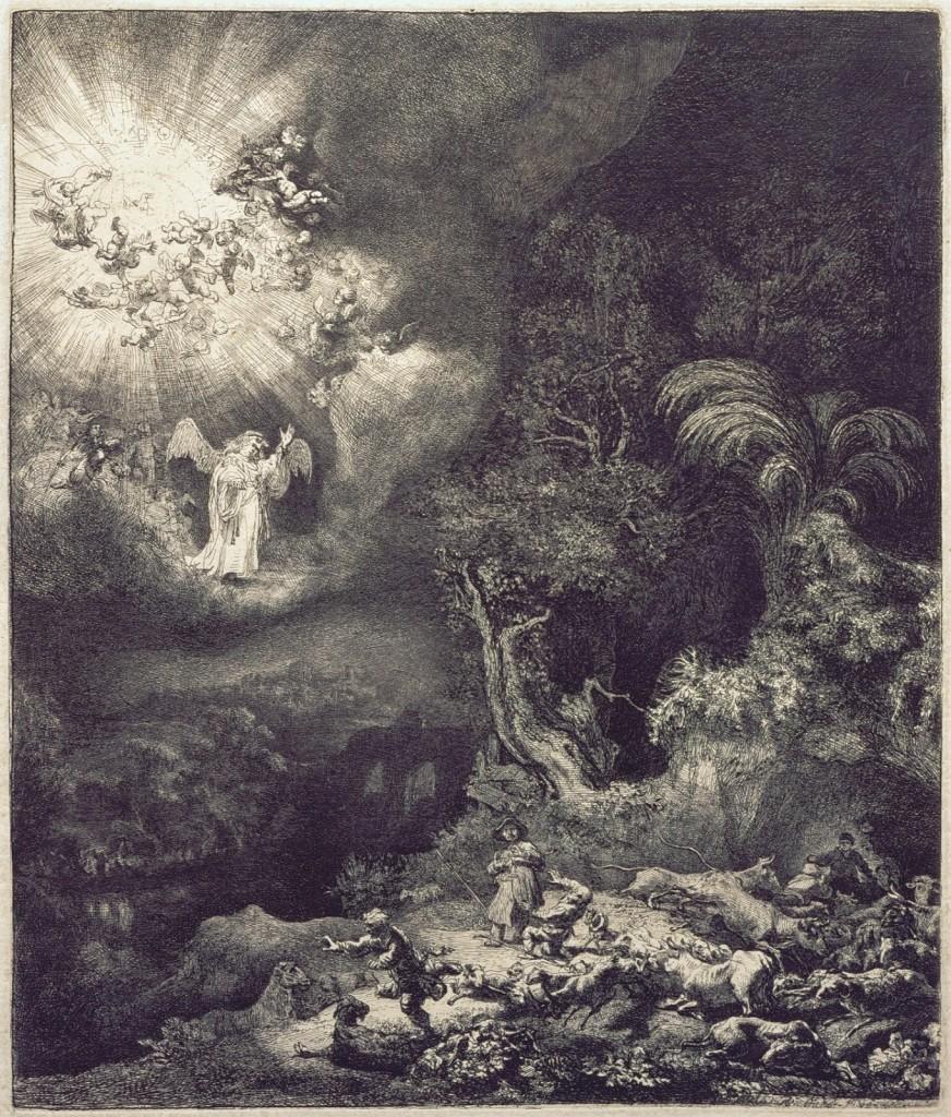 Rembrandt. Anunciación a   los pastores.  Año 1634