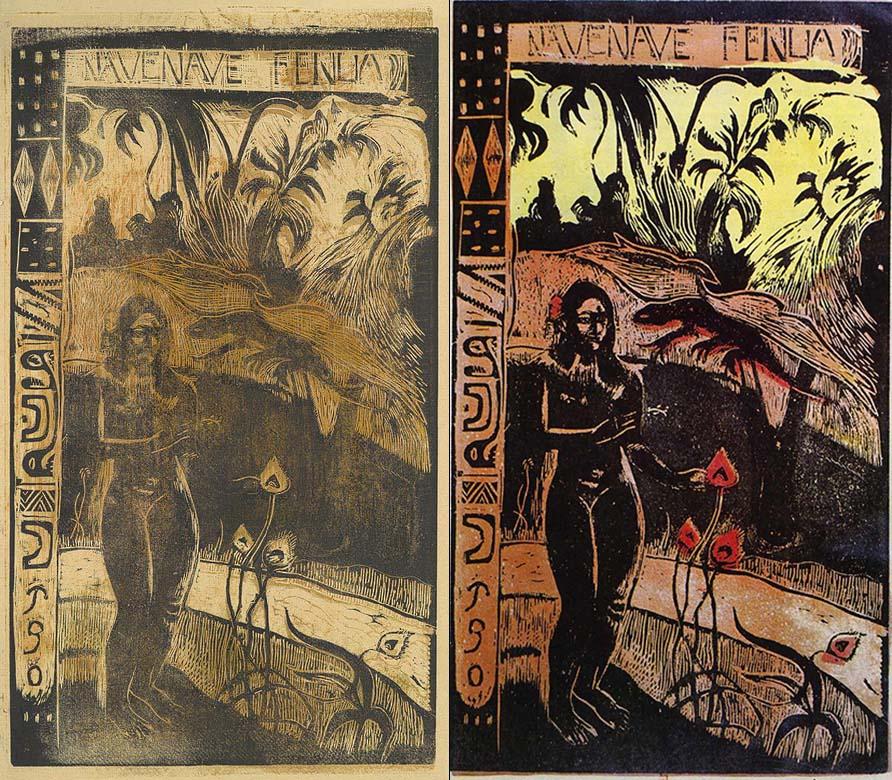 """Gaugin. """"Nave nae fenua"""".matriz y estampación. Año 1893"""