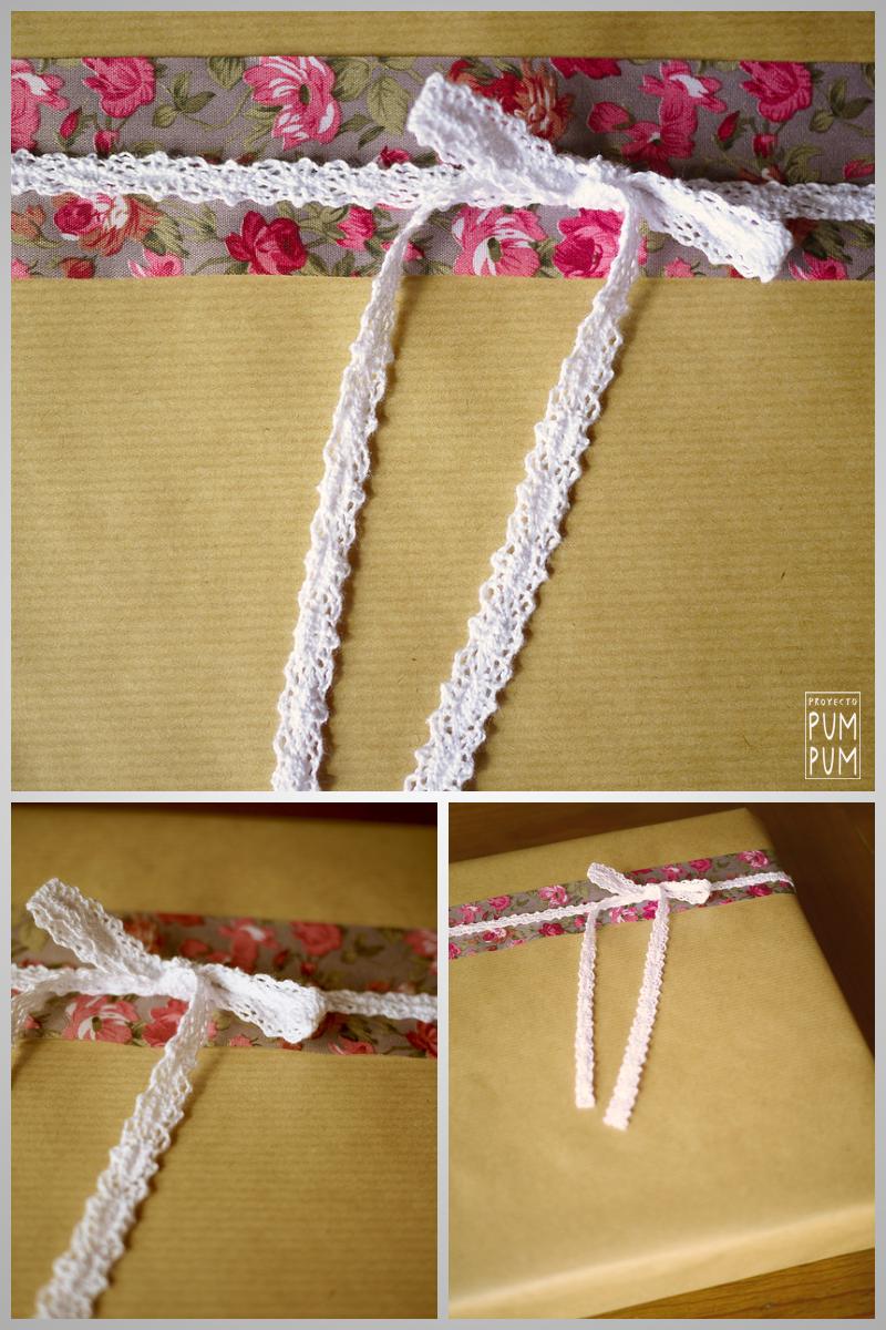 Materiales: cintas tela. blonda y papel craft